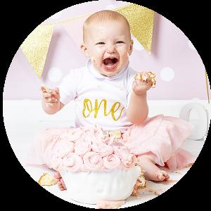 Lachende baby Cake Smash roze goud